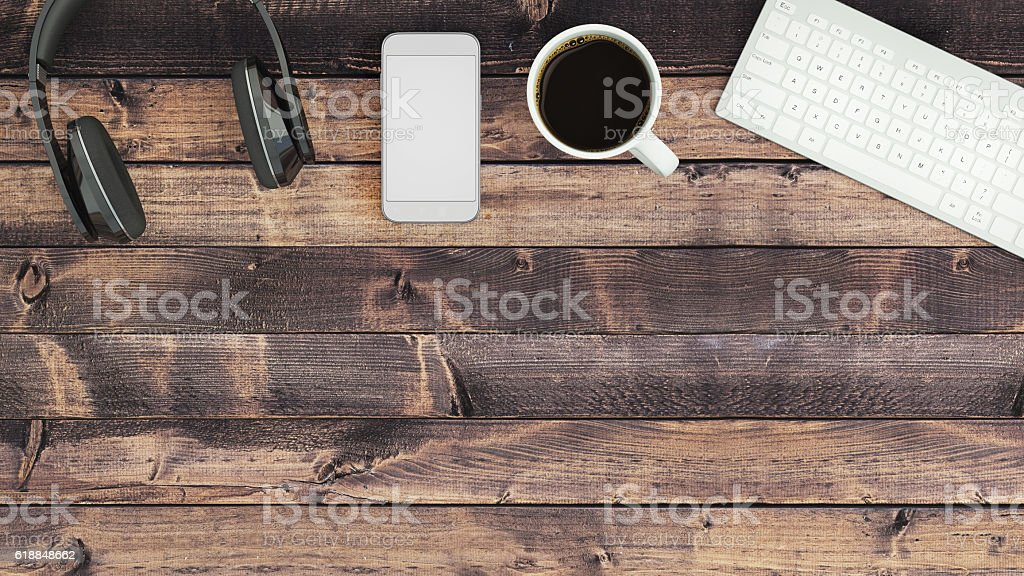 Top view of an empty desk stock photo