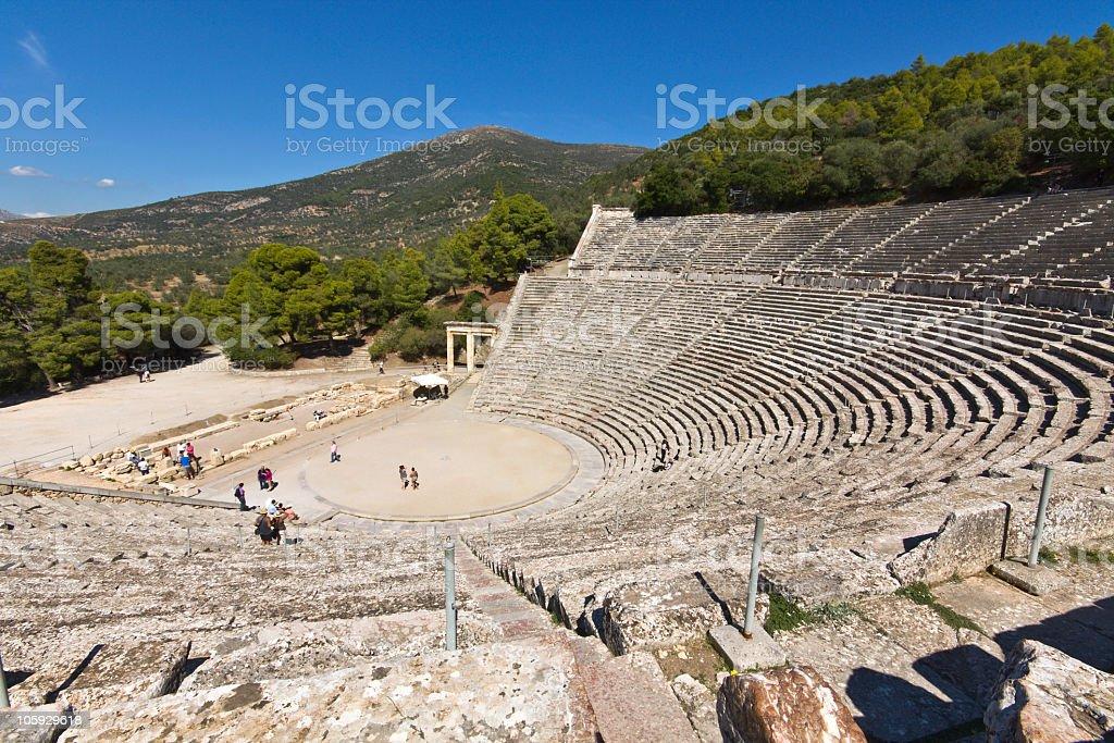 Top view of ancient amphitheater of Epidaurus of Greece stock photo