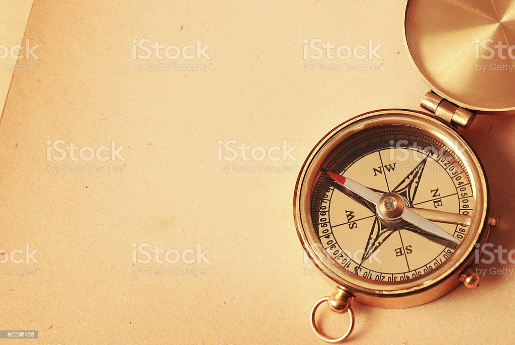 Top view of antique open compass on vintage background stock photo