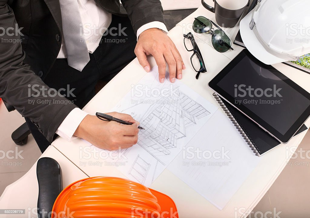 top view of architect working table stock photo