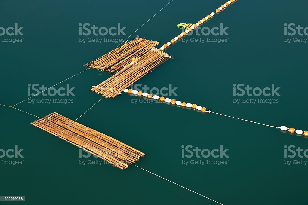 top view of bamboo raft on river in Thailand stock photo