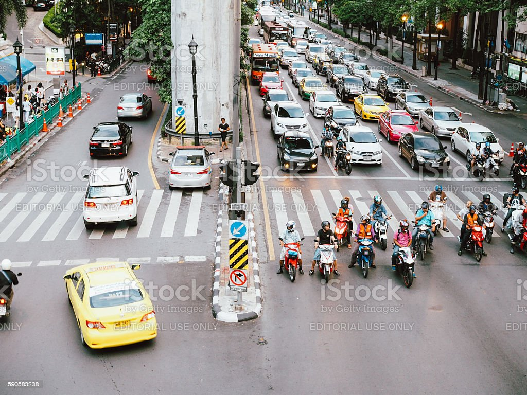 Top view of Bangkok street in Ratchaprasong Intersection stock photo