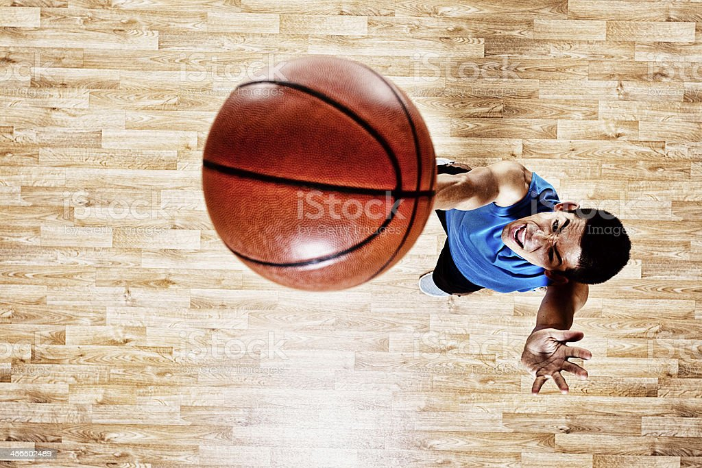 Top view of basketball player stock photo
