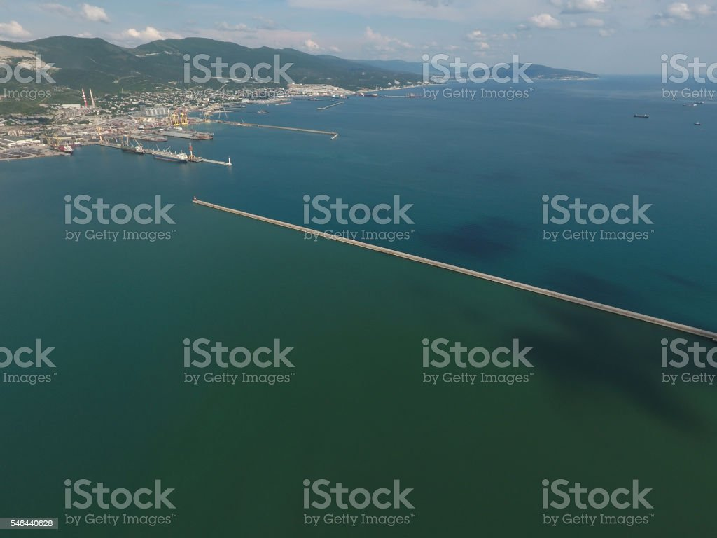 Top view of  bay Tsemess. Mol  building to stop  waves stock photo