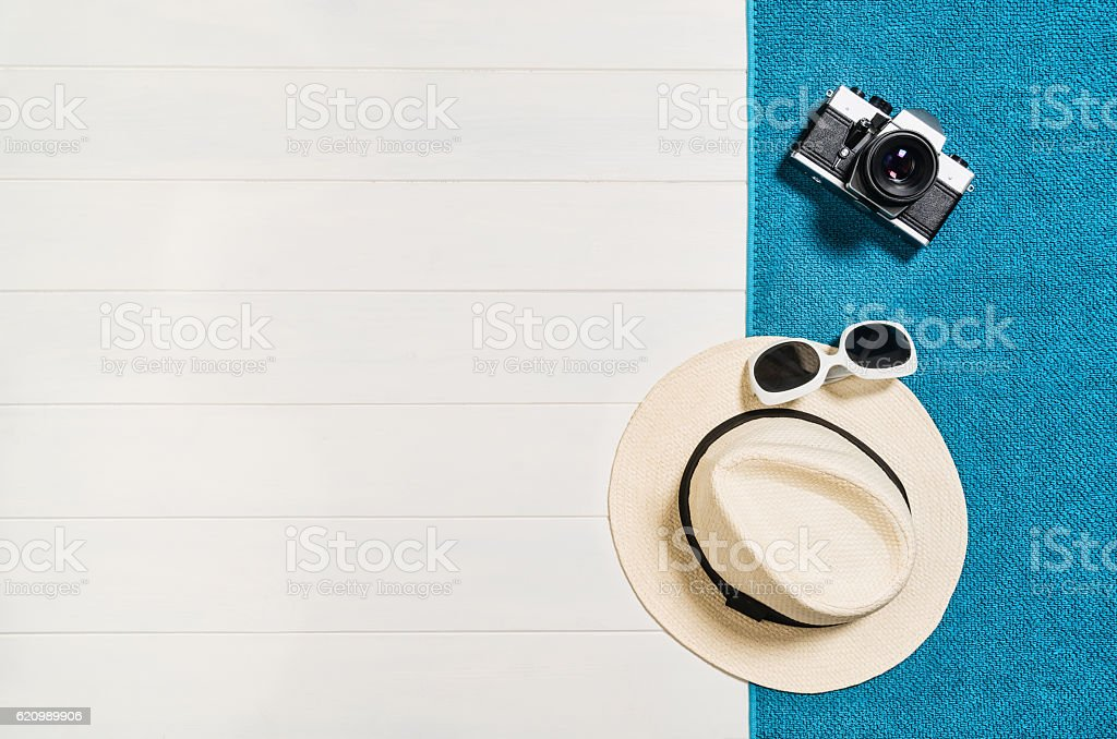 Top view of beach summer accessories with copy space. stock photo