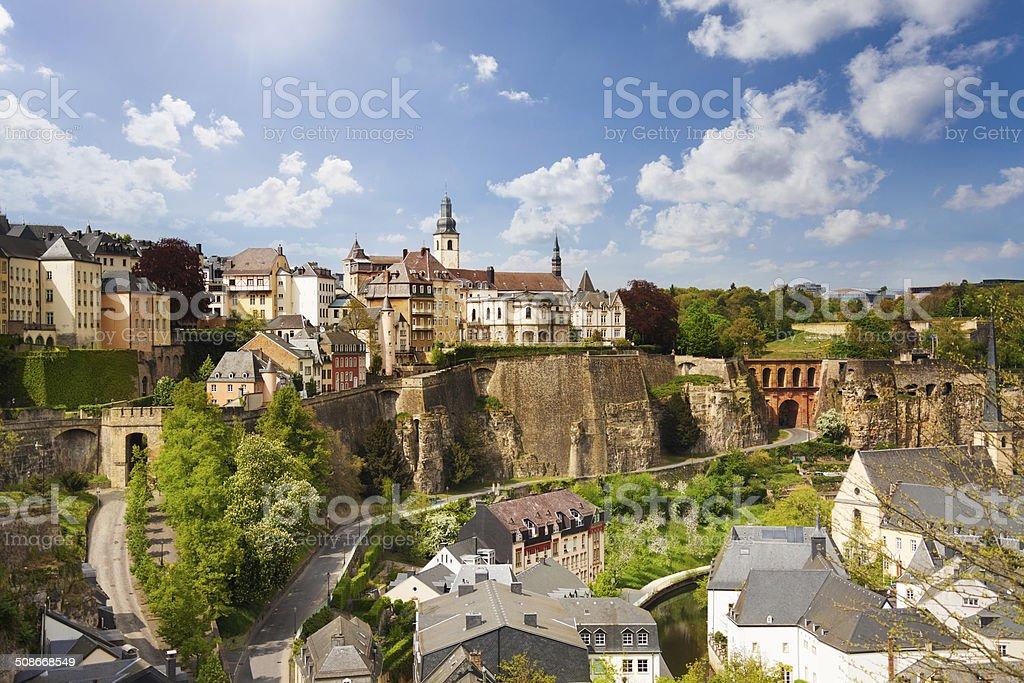 Top view of beautiful Luxemburg city stock photo