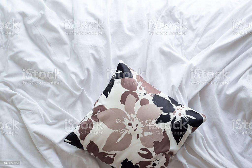 Top view of bedding sheets and pillow stock photo