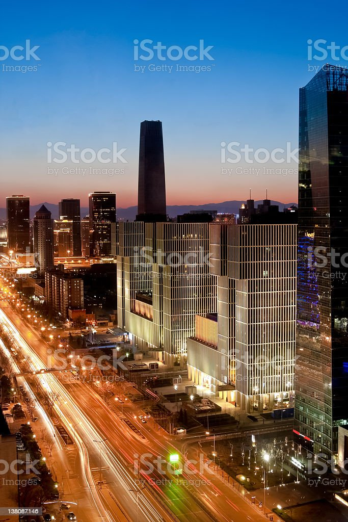 Top view of Beijing Central Business District, Guomao, China royalty-free stock photo