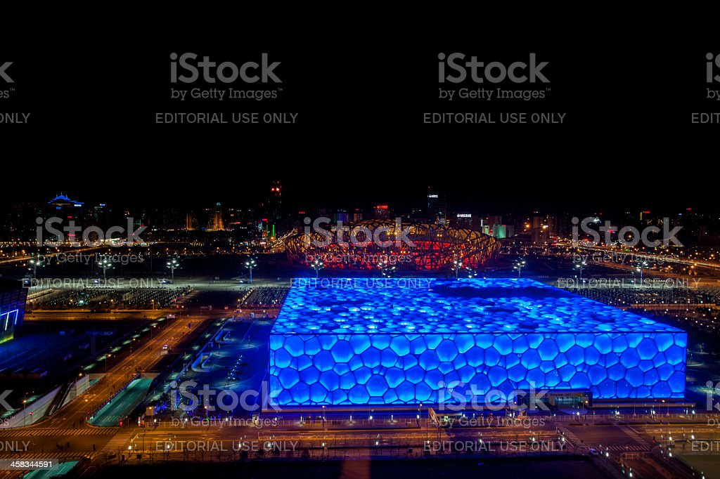 Top view of Beijing Olympic park by night royalty-free stock photo