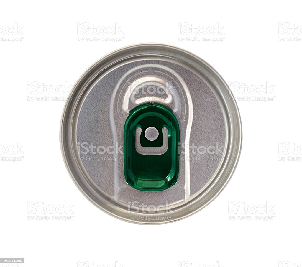 Top view of beverage can with green ring pull stock photo