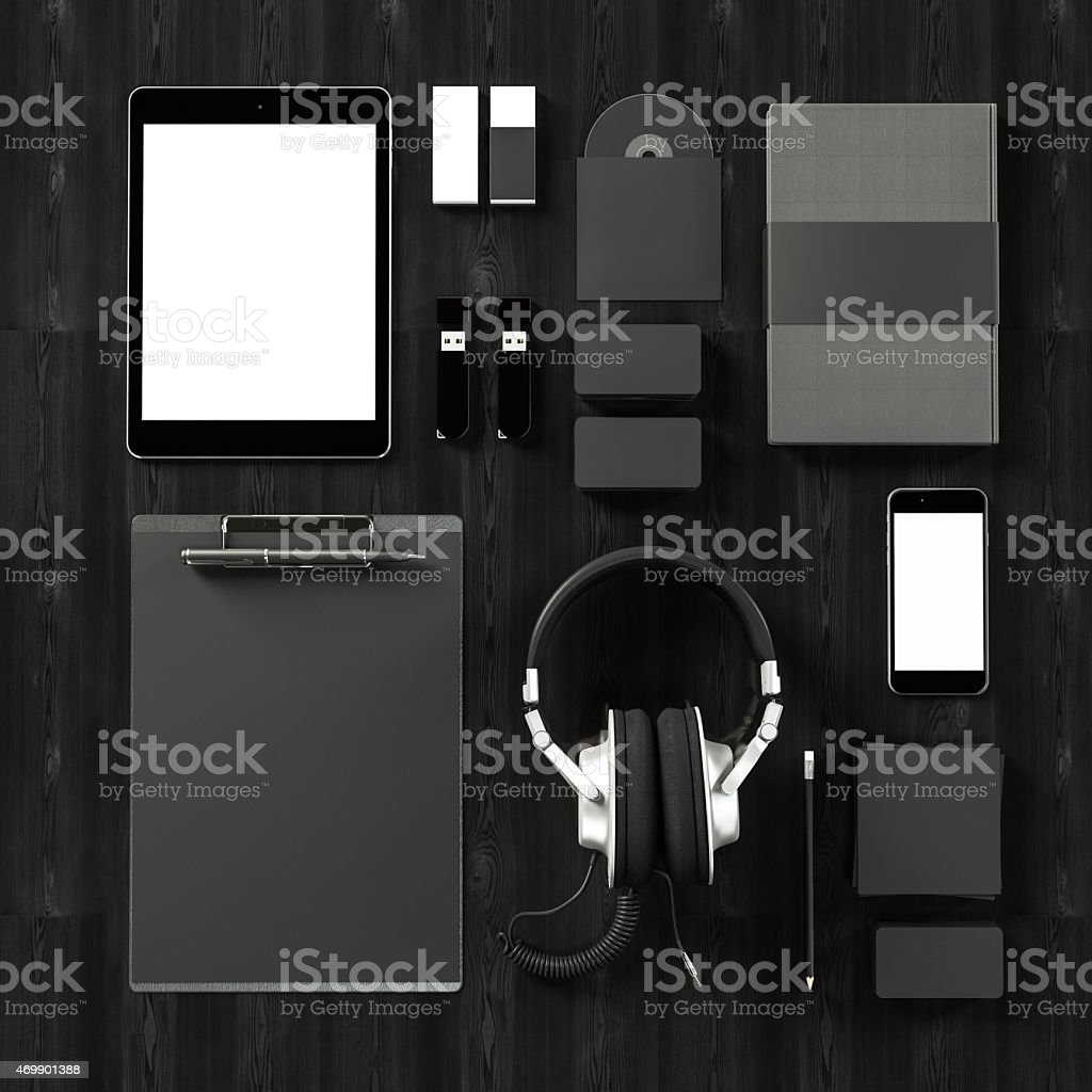 Top view of black business accessories stock photo