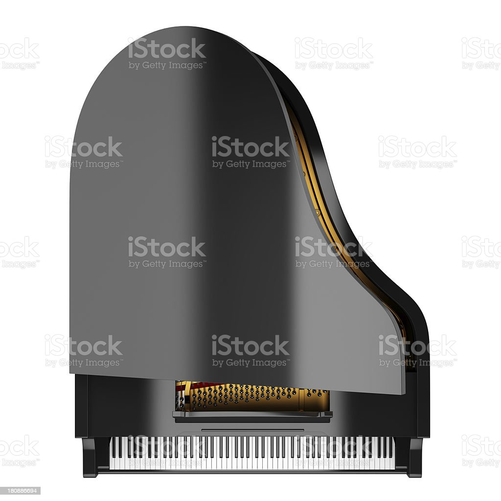 top view of black grand piano isolated on white background stock photo