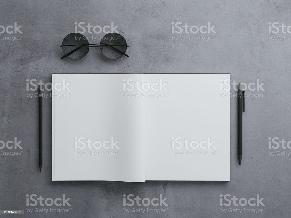 Top view of black notepad with pen and hipster glasses vector art illustration
