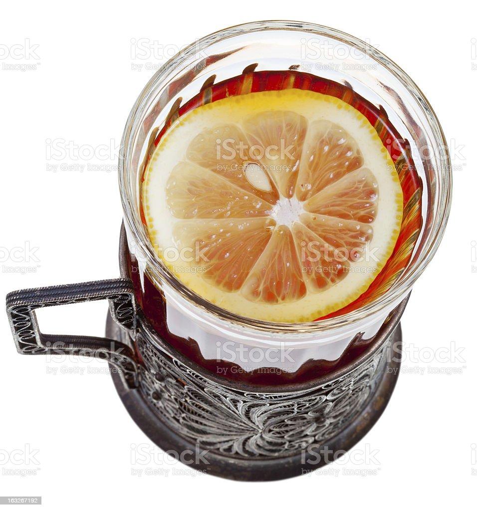 top view of black tea with lemon stock photo