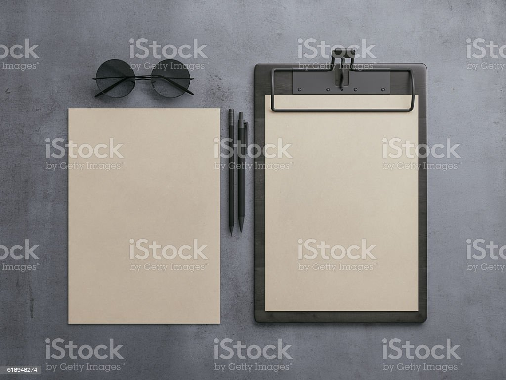 Top view of blank corporate identity stationery set. Branding mockup vector art illustration