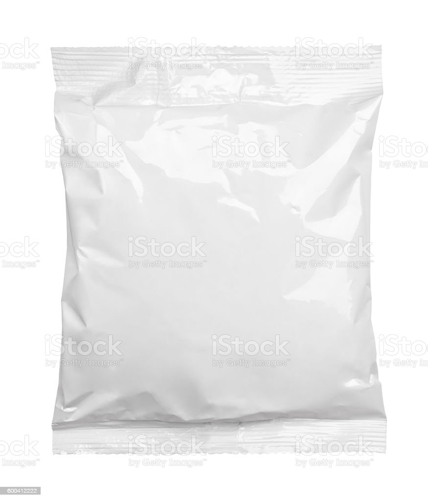 Top view of blank plastic pouch food packaging on white stock photo