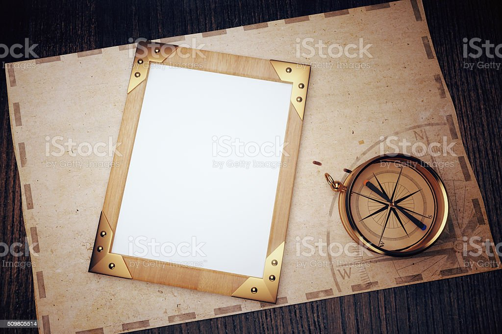 Top view of blank vintage picture frame stock photo