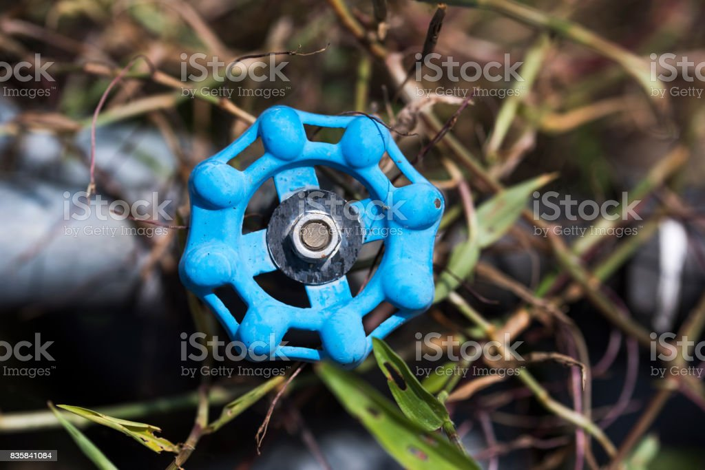 Top view of Blue Valve outdoors stock photo