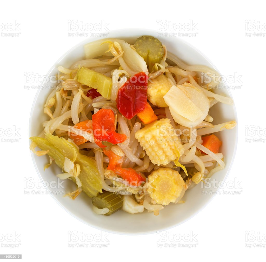 Top view of bowl filled with oriental vegetables stock photo