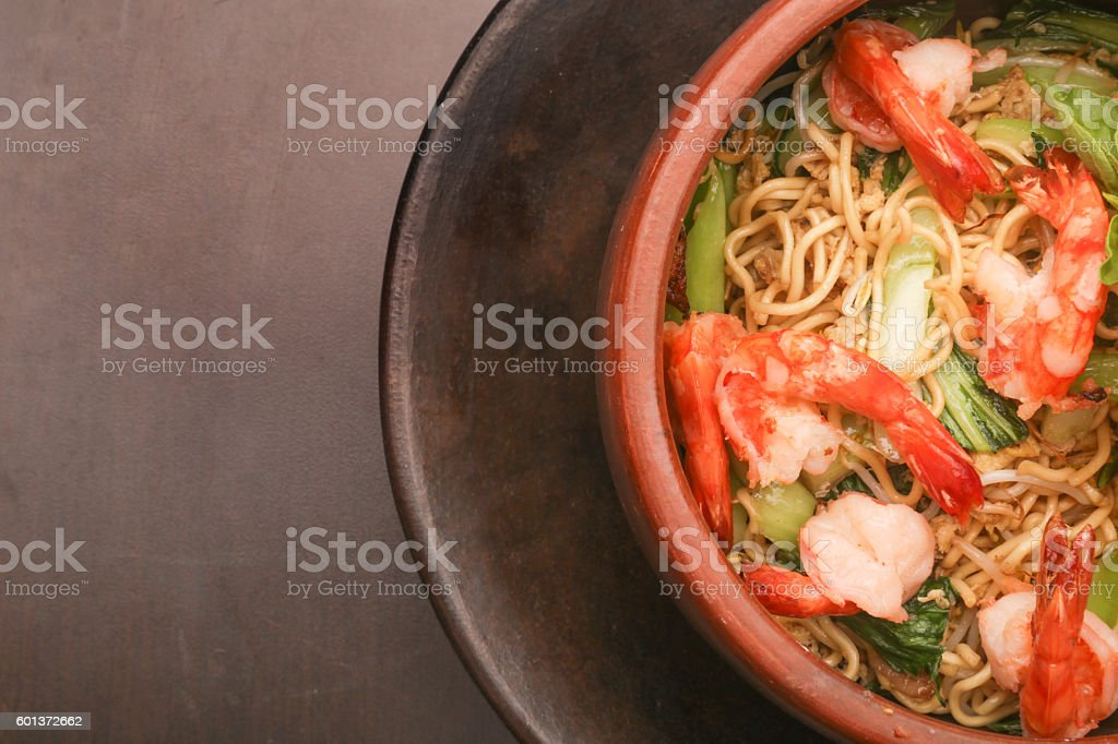 Top view of bowl of noodle with shrimps stock photo