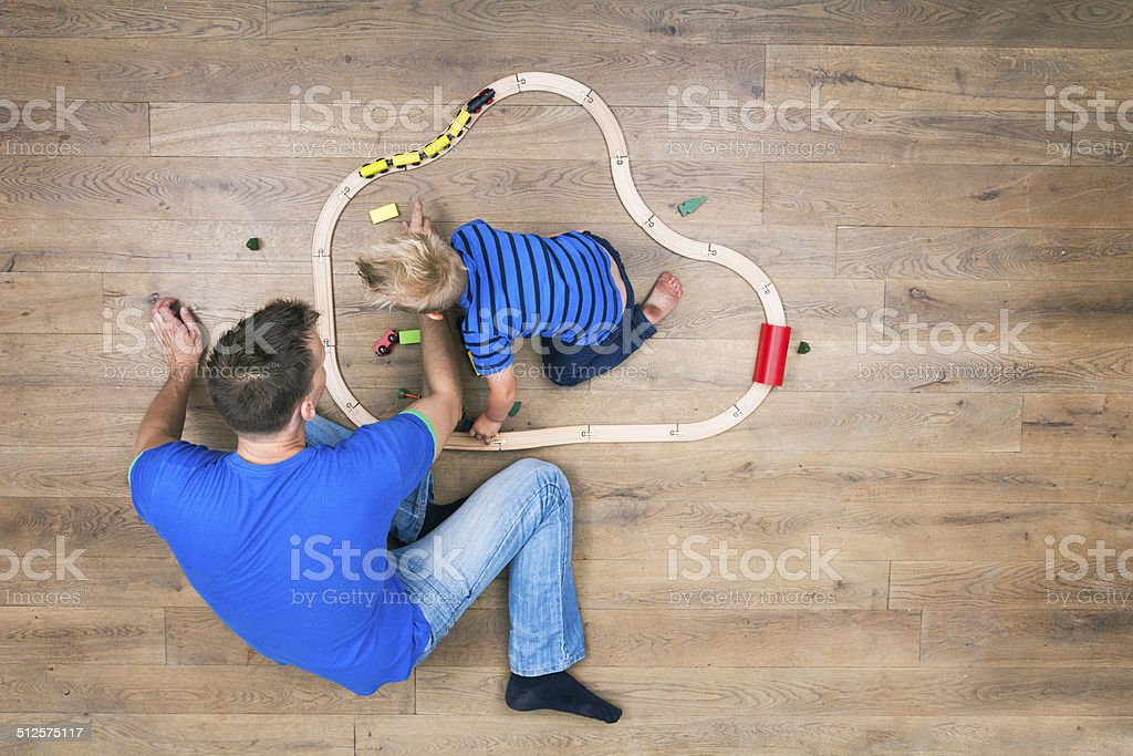 Top view of boy and father stock photo