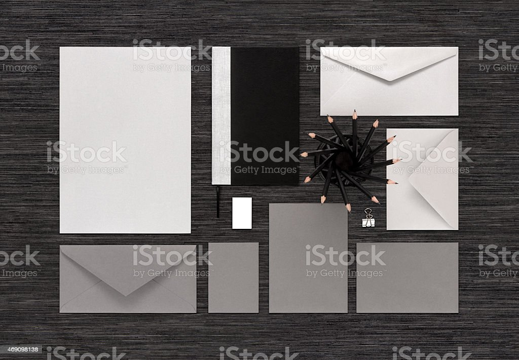 Top view of branding business mock up on black table stock photo