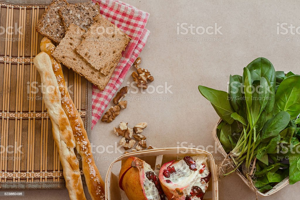 top view of bread and spinach stock photo