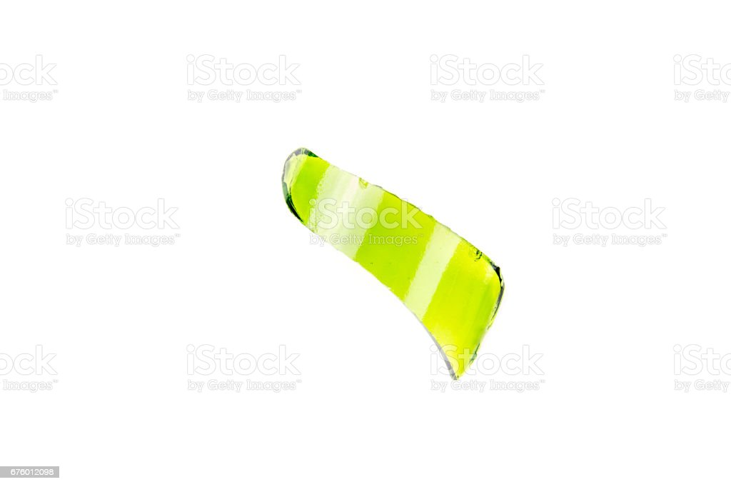 Top view of broken green wine bottle piece isolated stock photo