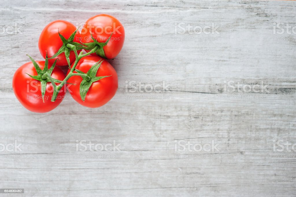 Top view of bunch of fresh tomatoes stock photo