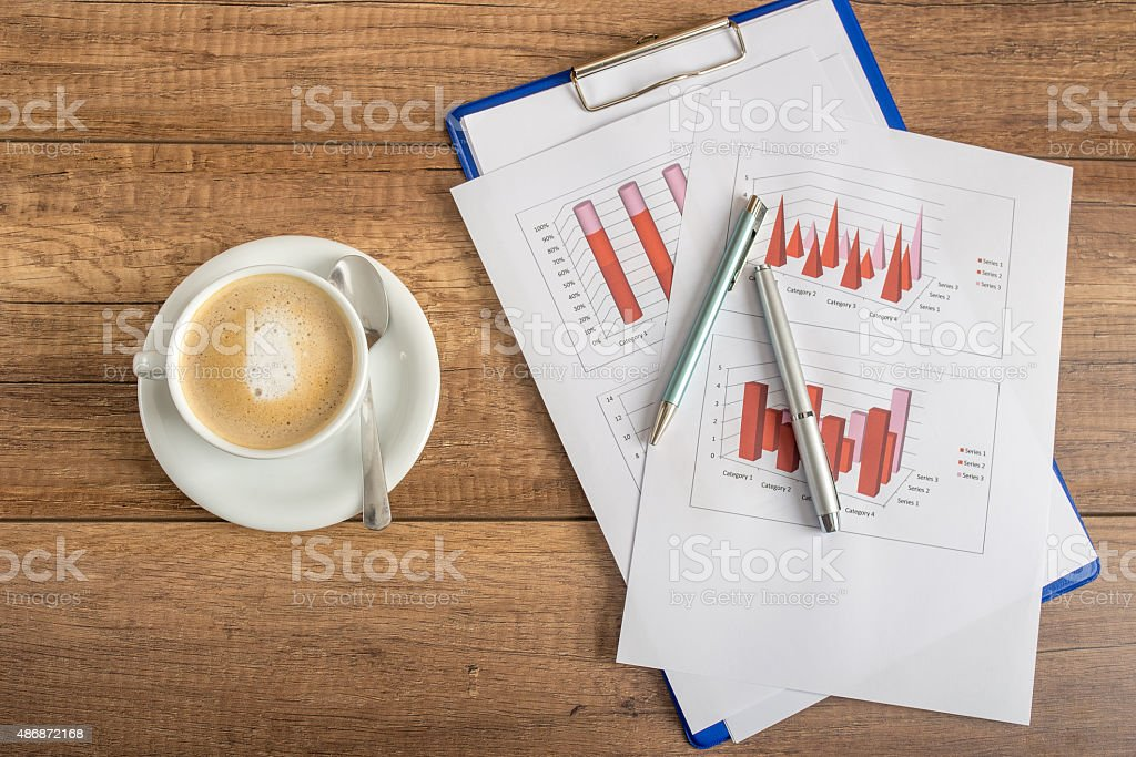 Top view of business statistical annual report stock photo