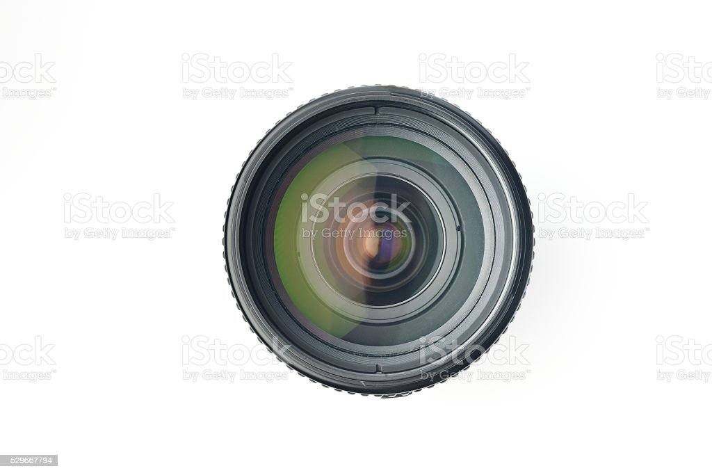 Top view of Camera Lens on White Background stock photo