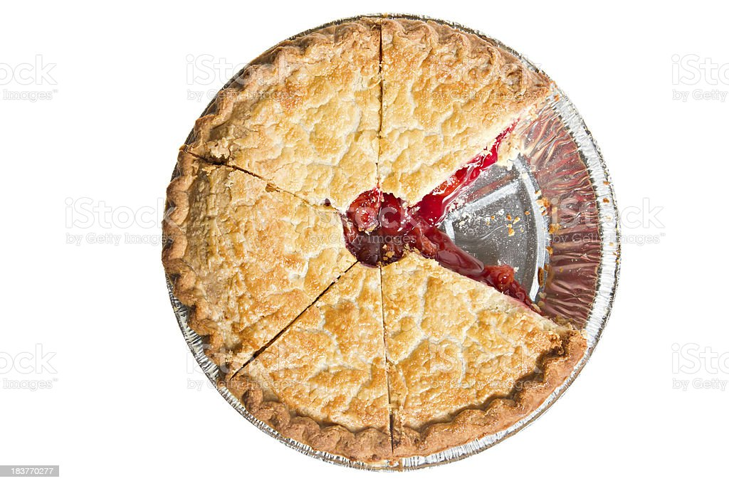 Top view of cherry pie with one slice missing stock photo