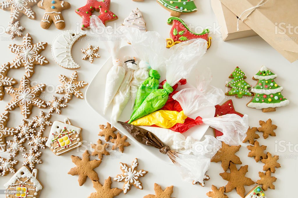Top view of christmas bakes and pastry bags stock photo