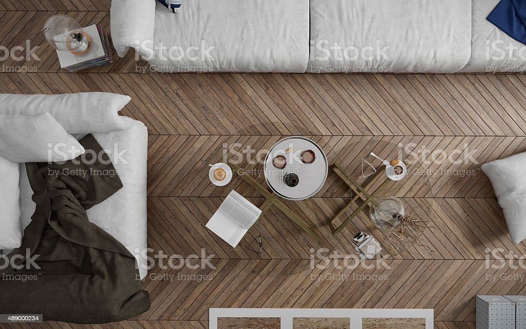 Top view of coffee table in the living room stock photo