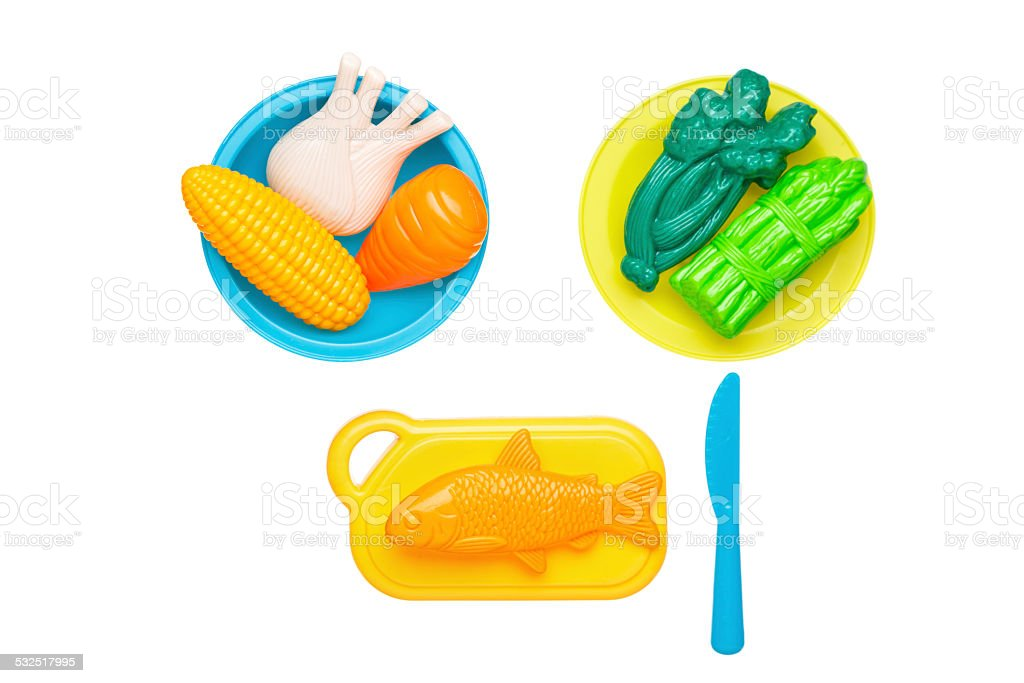 Top view of colorful plastic food stock photo