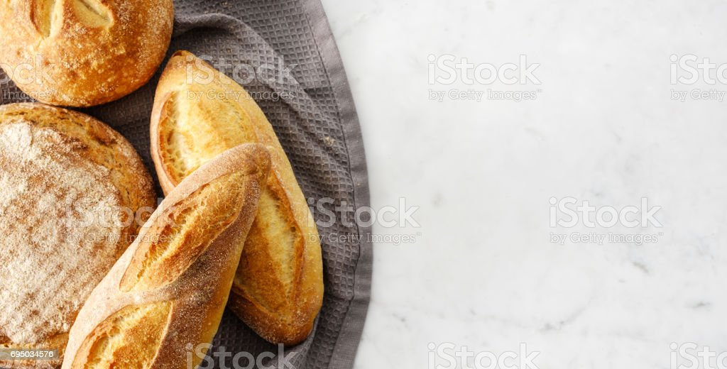 Top view of composition with fresh bread. stock photo