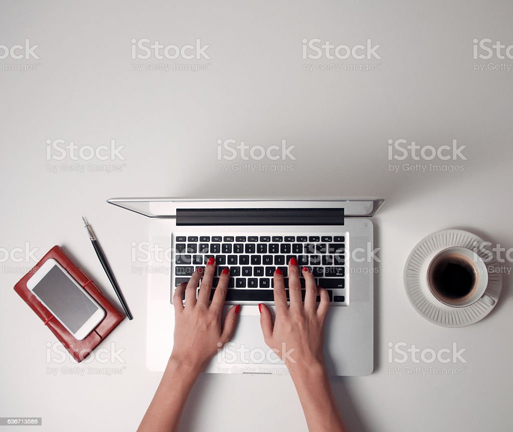 Top view of computer and smart phone stock photo