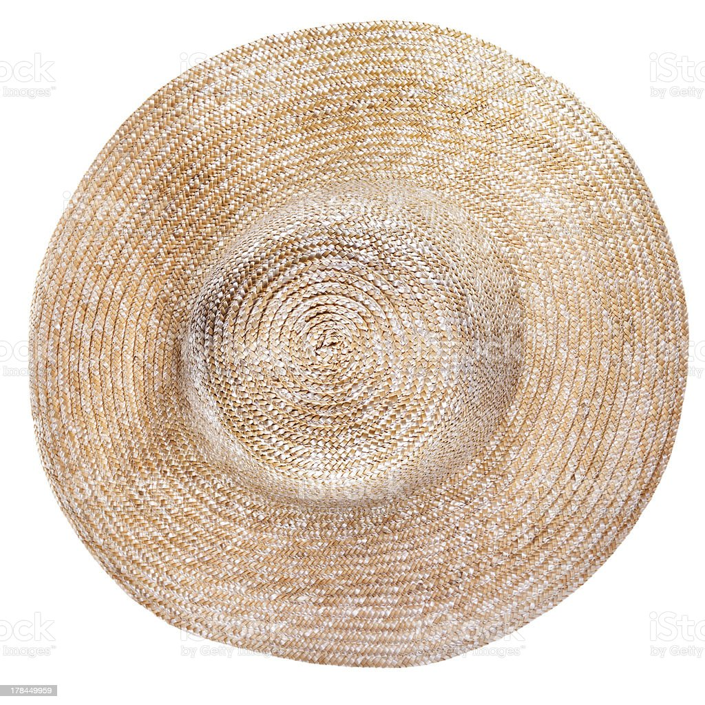 top view of country straw broad brim hat stock photo