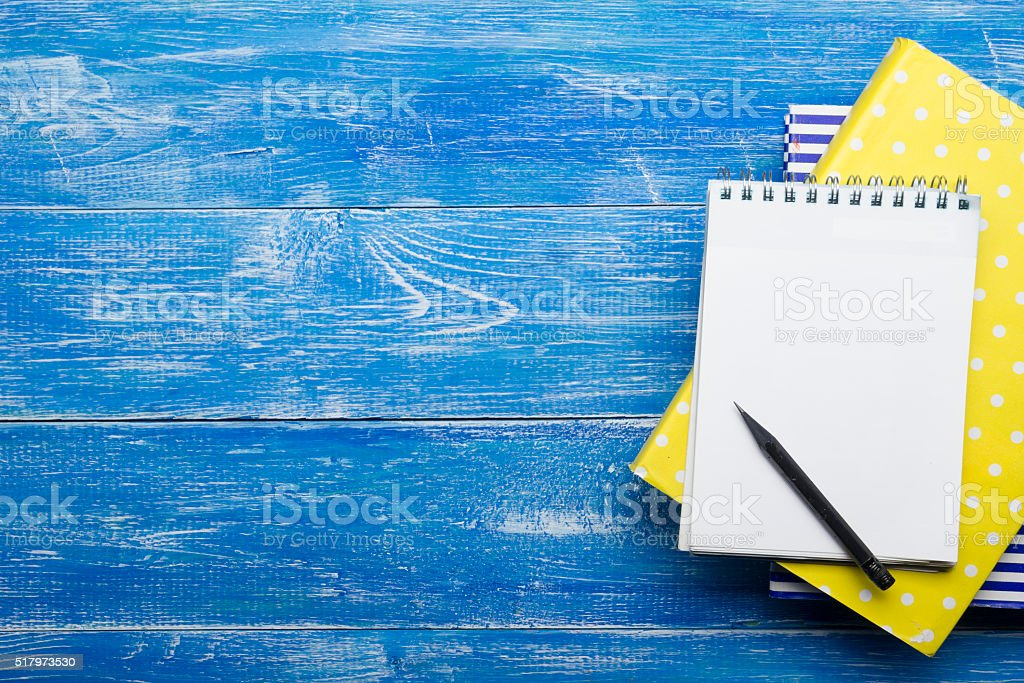 Top View of Creative Writing Concept With Pencils, Book, Notepad stock photo