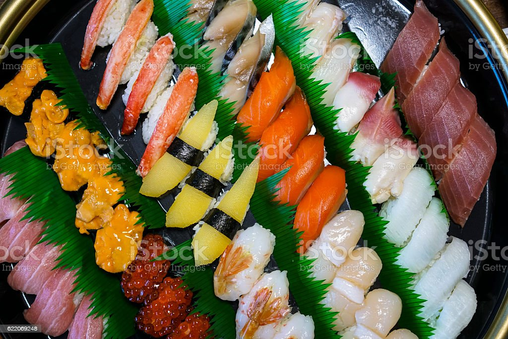 Top view of different Sushi in Abashiri on Hokkaido, Japan stock photo