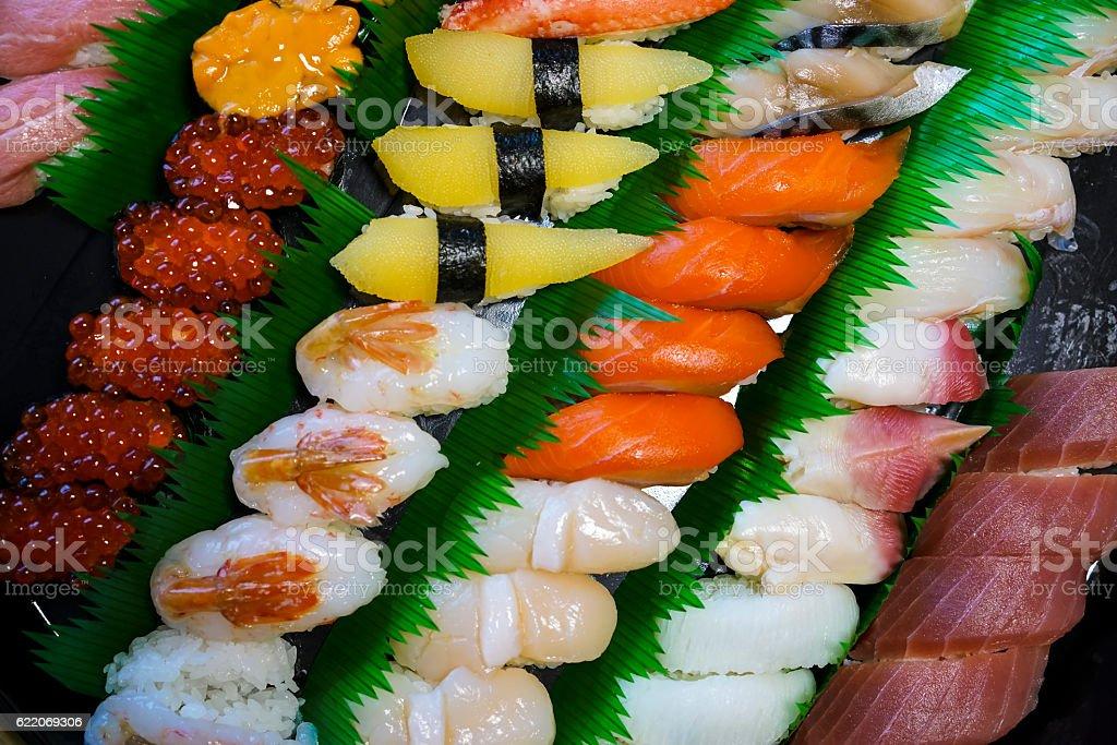 Top view of different Sushi in Abashiri on Hokkaido, Japan stock photo