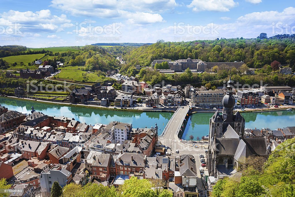 Top view of Dinant with Charles de Gaulle bridge stock photo