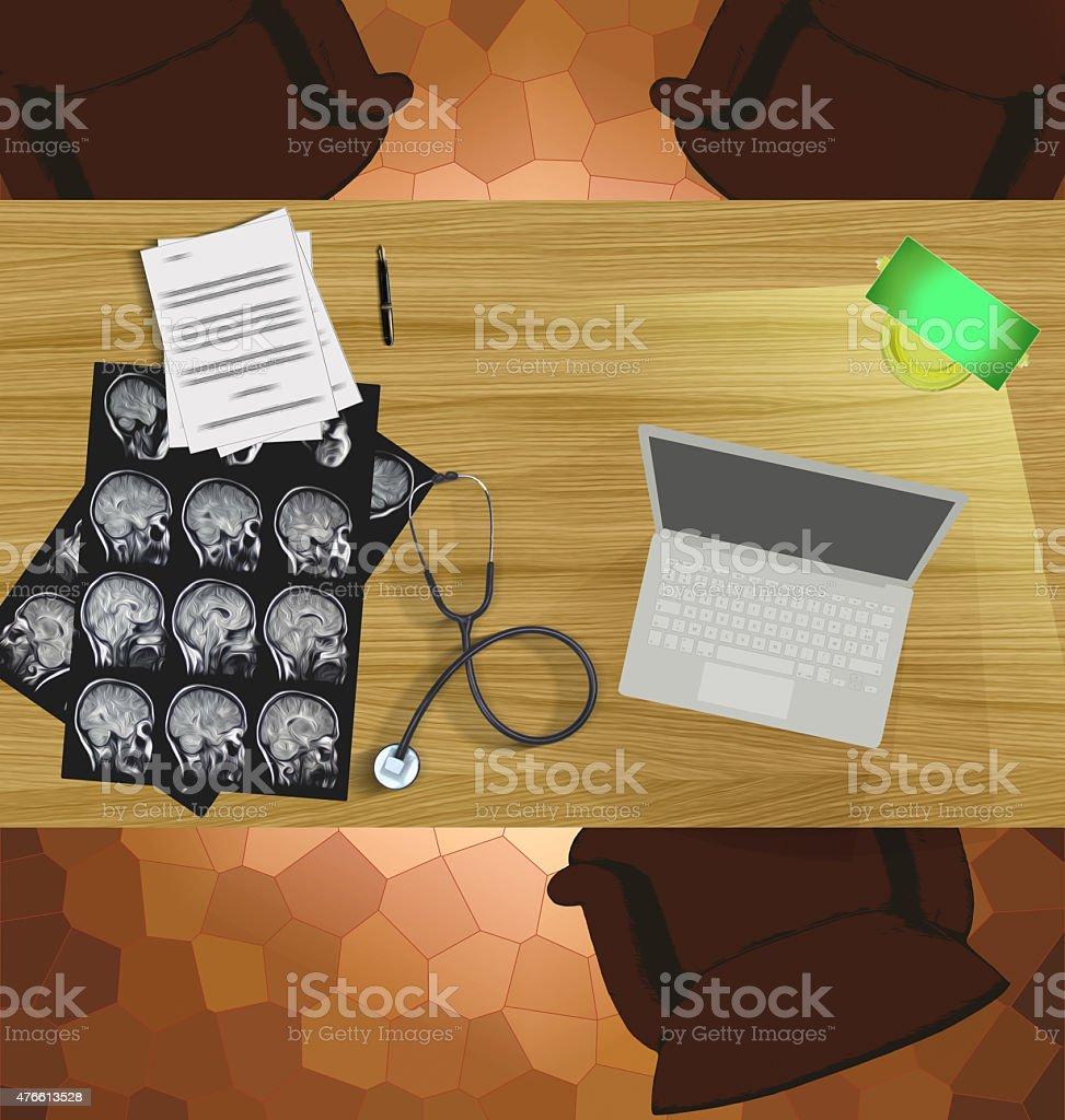 Top view of doctor's desktop stock photo