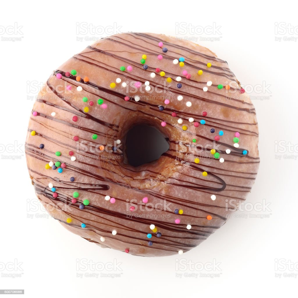 Top View of Donut Shot in Studio over White Background stock photo
