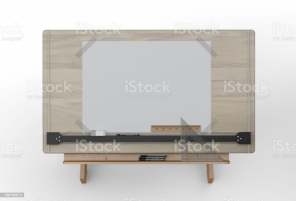 Top view of drawing table with tools , clipping path included stock photo