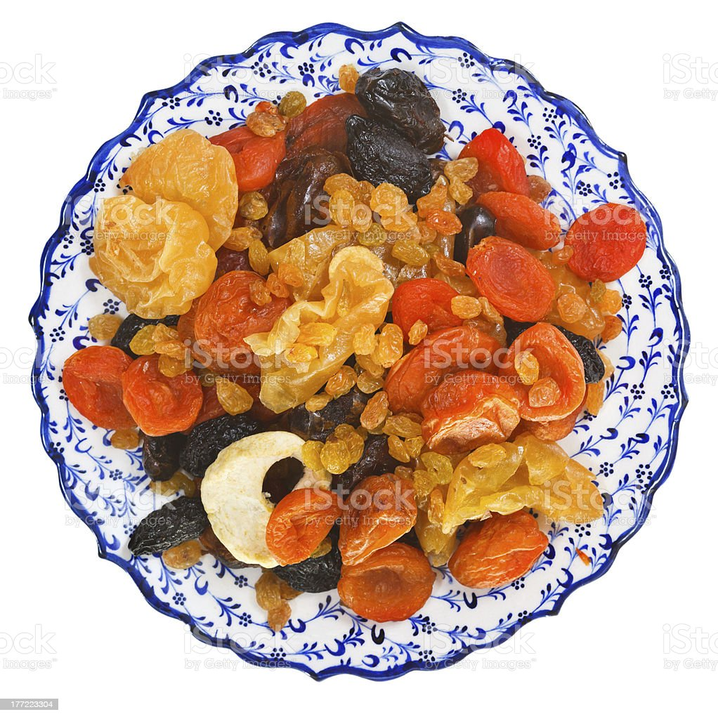top view of dried fruits on turkish plate royalty-free stock photo