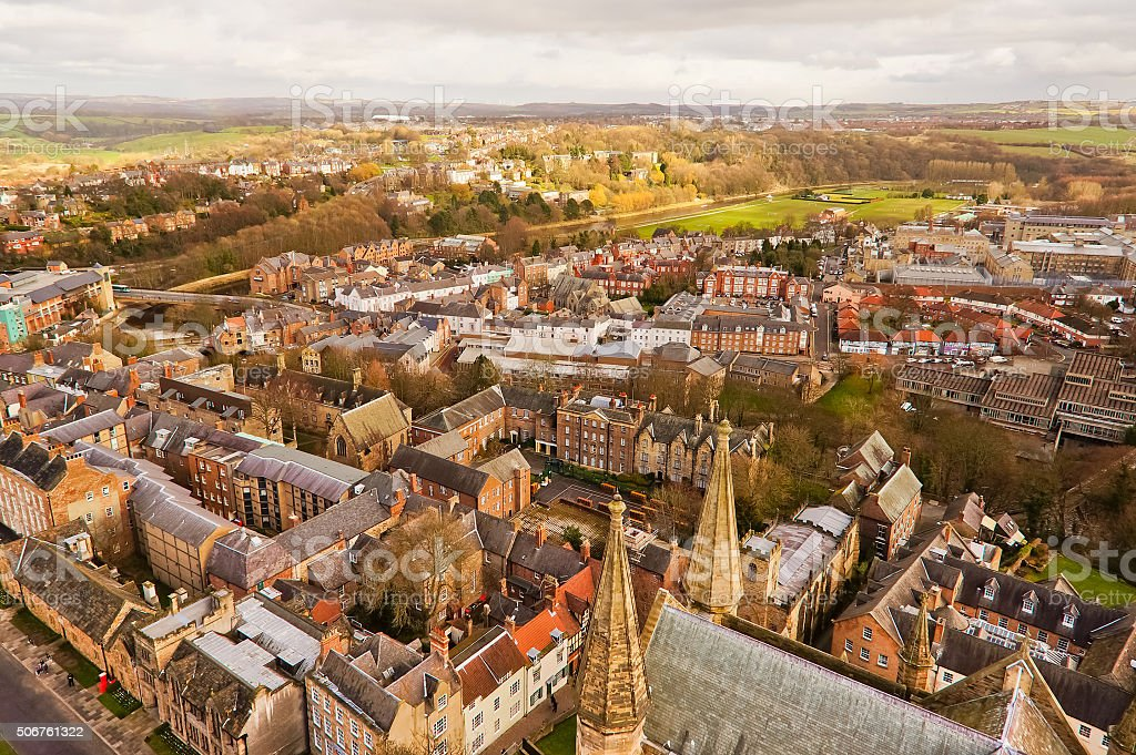 Top view of Durham city, England. stock photo