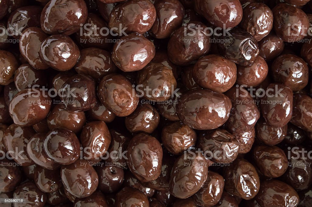 Top view of edible organic black olive stock photo