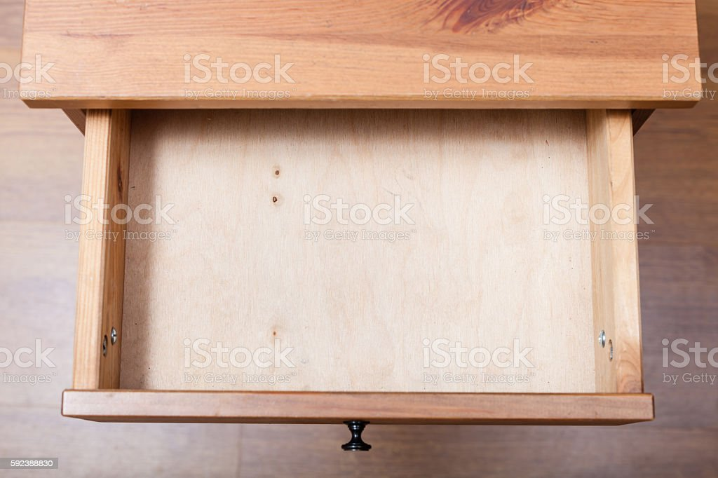 top view of empty open drawer stock photo
