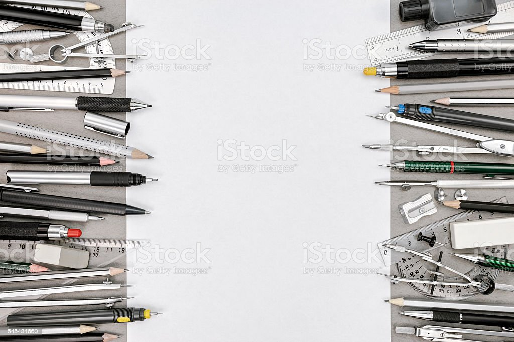 top view of empty paper sheet and various drawing tools stock photo